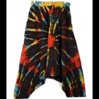 Batikolt pamut nadrág feketén színes