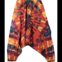 Batikolt pamut nadrág rozsdavörös alapon színes