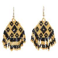 Gyöngyös fülbevaló arany/ fekete hatszög