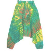 Batikolt pamut nadrág kékeszöld alapon színes