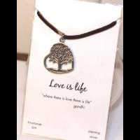 Életfa / szív medál bőrön