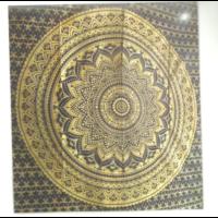 Mandala textil sötétkék-arany