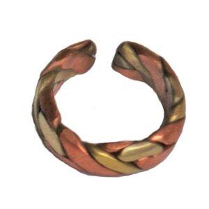 Gyógyító gyűrű nyitott, vörös-  és sárgarézből 1 sor