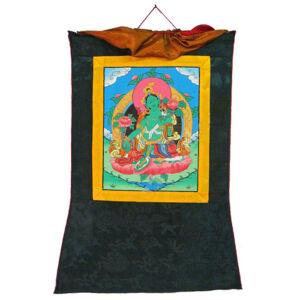 Zöld Tara kézzel festett thanka