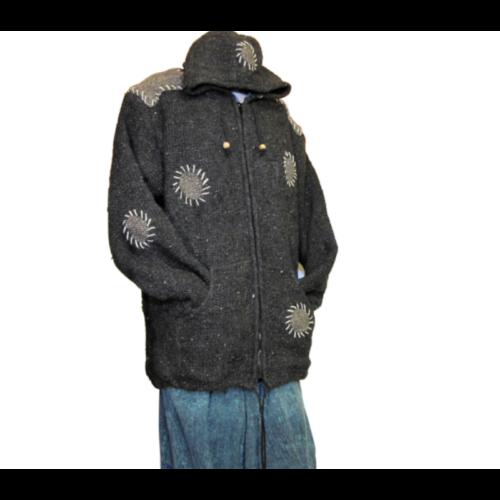 Gyapjú téli kabát nepáli kézi kötés