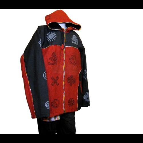 Meleg kabát cipzárral bordó-fekete - XXL