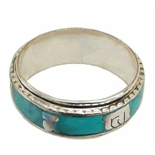 Forgatható mantrás gyűrű türkiz