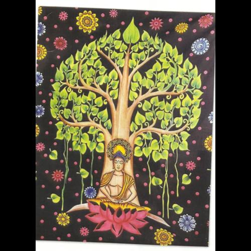 Buddha bodhi fa alatt színes feketén