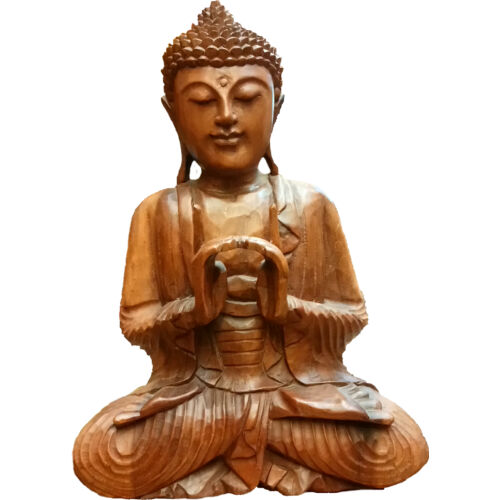 Buddha szobor fa 43 cm