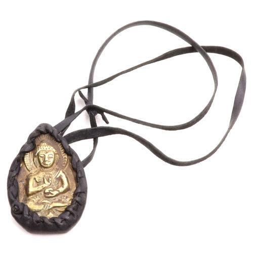 Bronz Buddha amulett bőr tartóban