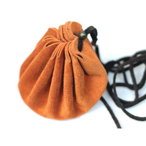 Bőr szütyő M - narancssárga