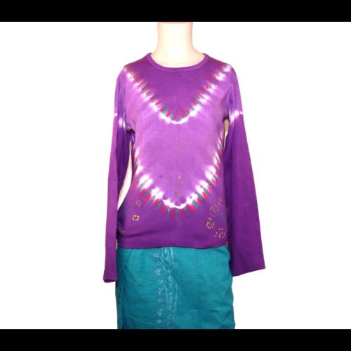 Batikolt póló lila M