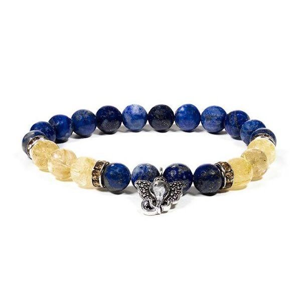 Lápisz lazuli karkötő elefánt medállal