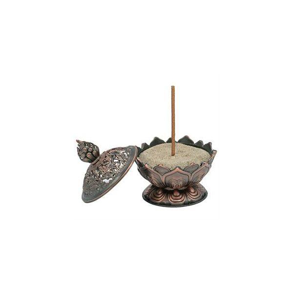 Lótusz füstölőégető bronz szín