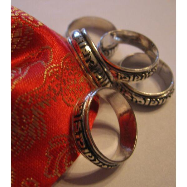 Forgatható mantrás ezüst gyűrű