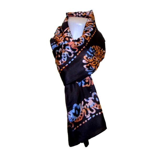 Selyem sál batikolt
