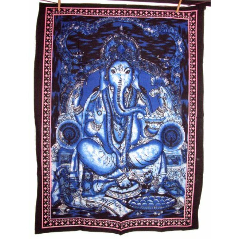 Ganesha mintás falitextil kék
